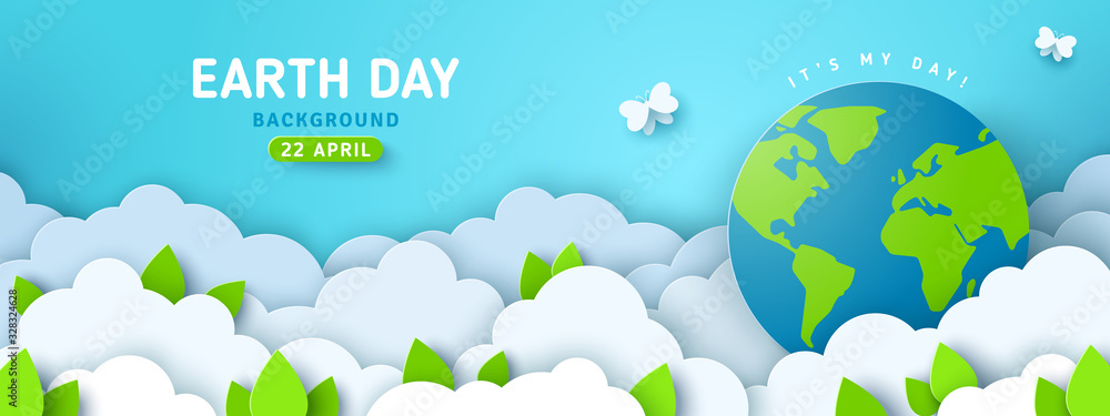 Fototapeta Earth Day banner or poster with paper cut clouds in blue sky. Background with green leaves, butterfly and globe. Vector illustration. Place for text.