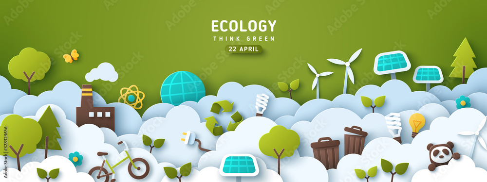 Fototapeta Earth Day banner, background with clouds and ecology icons in paper cut style. Vector illustration. Light bulbs, trees, wind turbine and solar panels. Place for text.