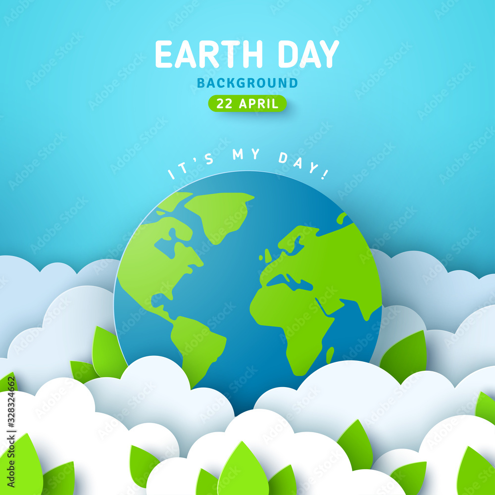 Fototapeta Earth Day banner or poster with paper cut clouds in blue sky. Background with green leaves and globe. Vector illustration. Place for text.