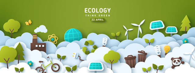 Earth Day banner, background with clouds and ecology icons in paper cut style. Vector illustration. Light bulbs, trees, wind turbine and solar panels. Place for text.
