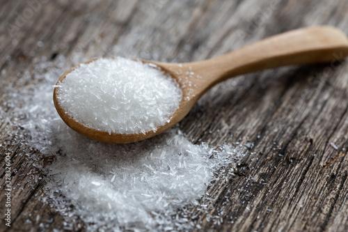 Fototapeta monosodium glutamate, MSG on wooden spoon