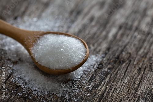Obraz na plátně monosodium glutamate, MSG on wooden spoon