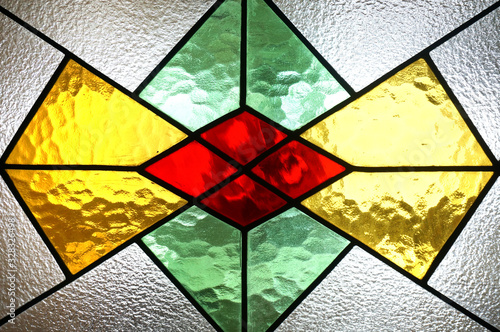 Cuadros en Lienzo Beautiful colorful stained glass window detail and texture