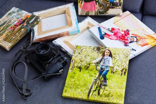 Obraz portraits of a little girl on a canvas photo - fototapety do salonu