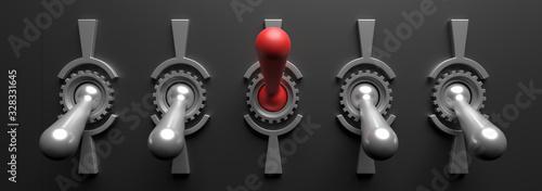 Old vintage switches on black background. 3d illustration