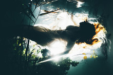 Silhouette Underwater Girl Wit...