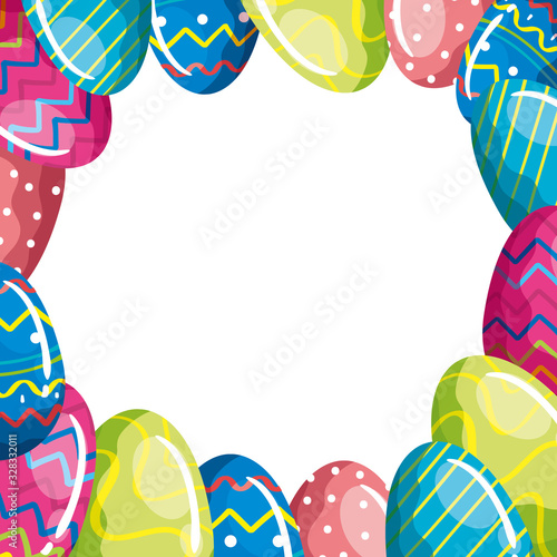 Fototapeta frame of cute eggs easter decorated vector illustration design obraz
