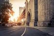 canvas print picture - Manhattan Bridge at sunset, New York