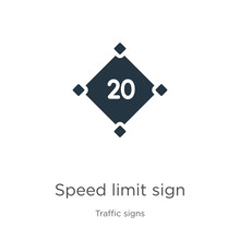 Speed Limit Sign Icon Vector. ...