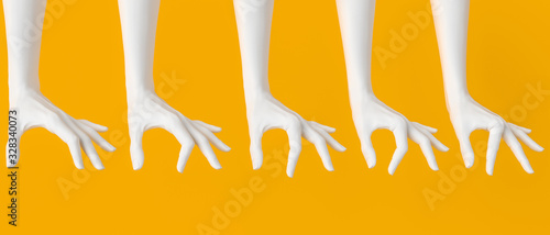 Fototapeta Set of woman's white hand measuring, showing different sizes. Hand gestures holding from above something big and small. Isolated on yellow. 3d illustration obraz