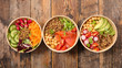 canvas print picture - assorted of buddha bowl- vegetable salad