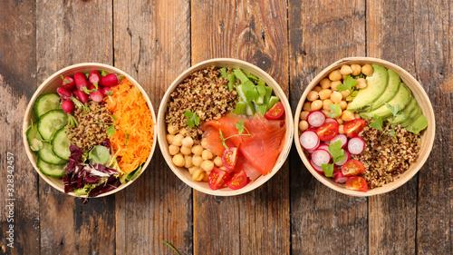 Fototapeta assorted of buddha bowl- vegetable salad obraz
