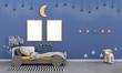 Leinwandbild Motiv kid room cute style with purple wall 3d rendering