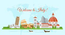 Welcome To Italy Flat Banner V...