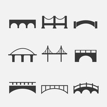Bridge Vector Icon Set Of 9 For River Crossing Transport