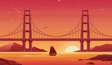 Bridge And Boat At Sunset Flat...