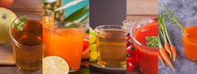 Collage Of Various Juice Apple...