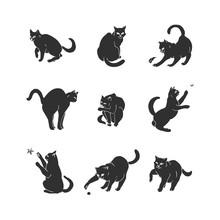 Set Of Nine Hand Drawn Blakc Playful Cats.