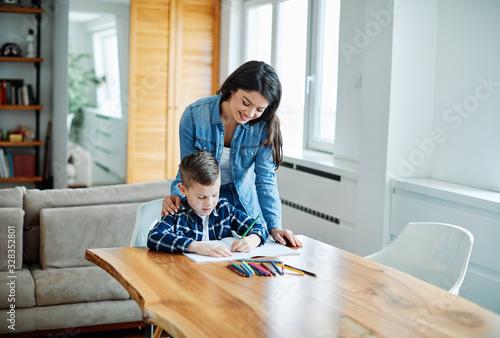 homework teaching education mother children son familiy childhood Canvas Print