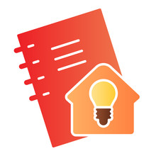 Homework Flat Icon. Notebook For Self Studying, Pocketbook With Home Idea Sign. Education Vector Design Concept, Gradient Style Pictogram On White Background.