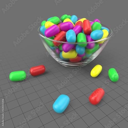 Obraz Candies in glass bowl - fototapety do salonu