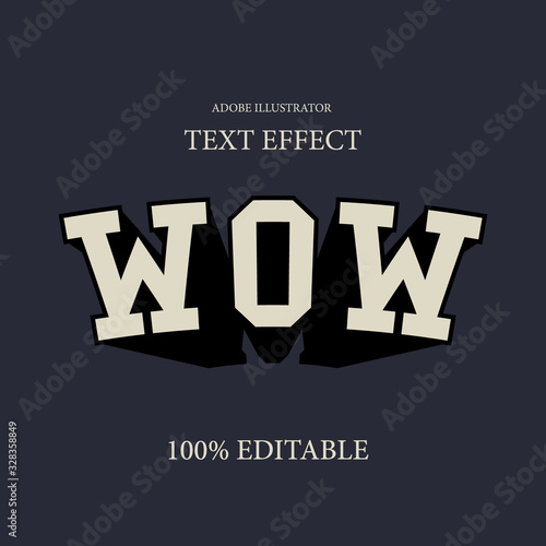 Vintage slab serif editable adobe illustrator font effect with extrude and warp Canvas Print