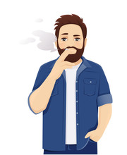 Handsome Big Man In Casual Clothes Smoking Cigarette. Isolated Vector Illustration