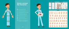 Cartoon Funny Young Hospital Doctor With Stethoscope In Uniform. Ready For Animations. Face Expressions, Eyes, Brows, Mouth And Hands Easy To Edit. Isolated On Blue Background. Big Vector Icon Set.