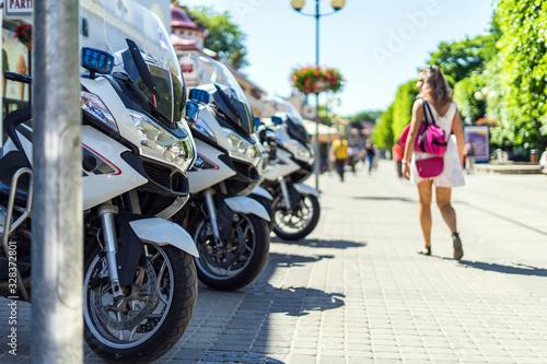 Jurmala, Latvia - July 16, 2019 Three police motorcycles parked on the Jurmala s Wallpaper Mural