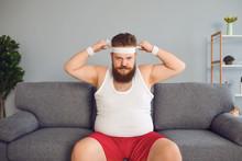 Funny Fat Man In Sportswear Is...