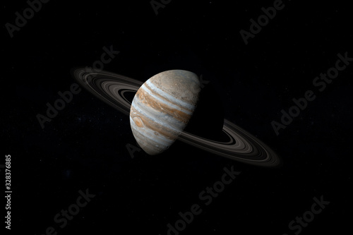 Fotomural Jupiter planet and her rings in the outer space. 3d render