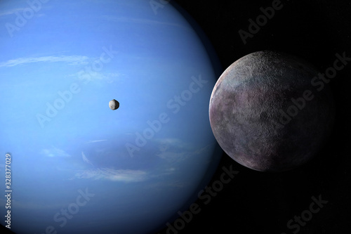 Photo Satellites Proteus and Triton orbiting around Neptune planet