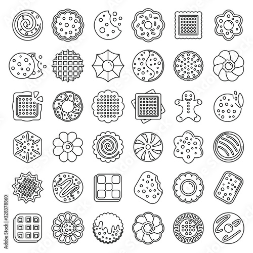Fototapeta Biscuit icons set. Outline set of biscuit vector icons for web design isolated on white background obraz