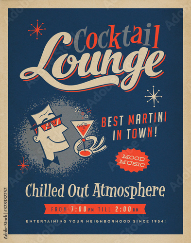 Tela Vintage Style Cocktail Lounge Poster Illustration with Retro Offset Effects - Be