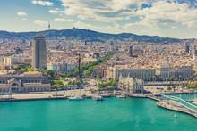 La Rambla Street And Promenade Top View Barcelona Spain