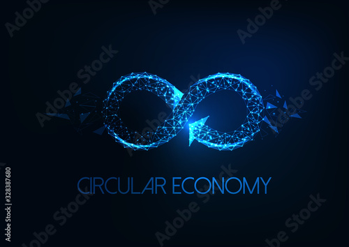 Fototapeta Futuristic circular economy concept with glowing low polygonal infinity sign isolated on dark blue obraz
