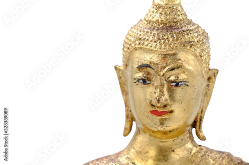 Fotografia Buddha image isolated on white background with copy space on the left hand side