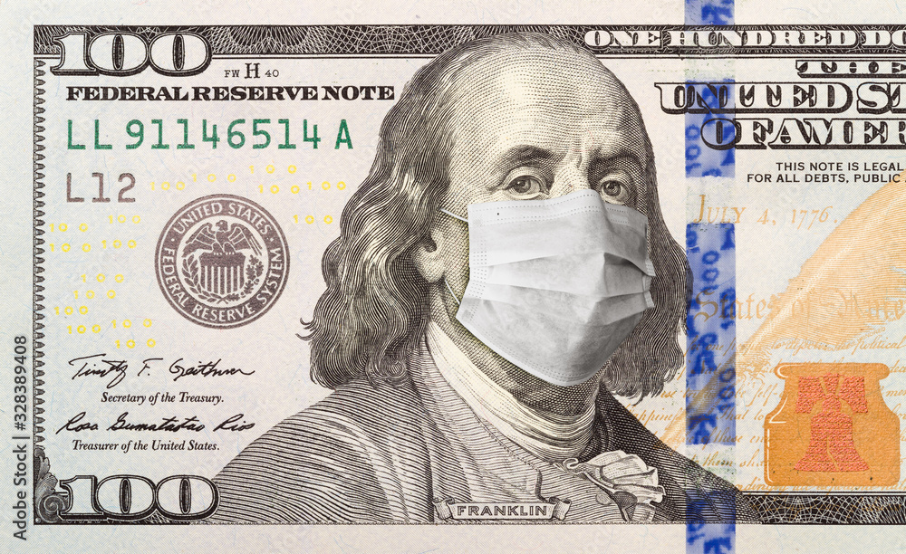 Fototapeta One Hundred Dollar Bill With Medical Face Mask on Benjamin Franklin