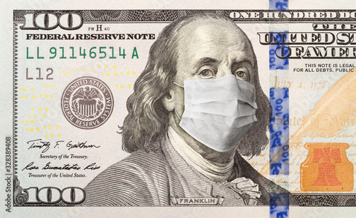 One Hundred Dollar Bill With Medical Face Mask on Benjamin Franklin - 328389408
