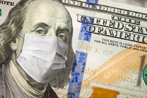 One Hundred Dollar Bill With Medical Face Mask on Benjamin Franklin Wallpaper Mural