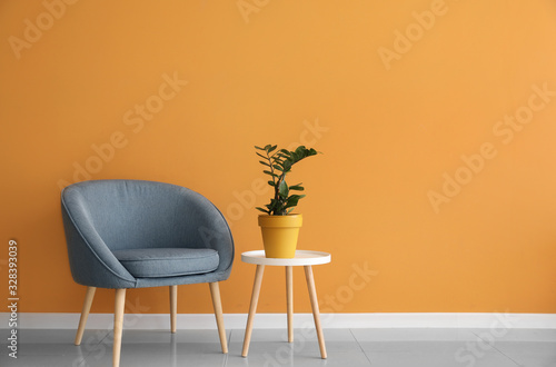 Comfortable armchair and table with houseplant near color wall