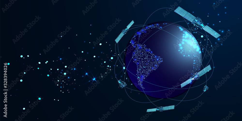 Fototapeta Artificial satellites orbiting the planet Earth in outer space isolated on dark blue background. Communication, navigation concept. Low poly wireframe style. Vector