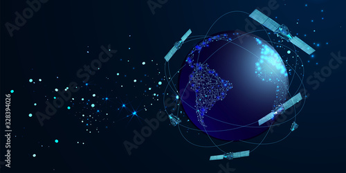 Fotomural Artificial satellites orbiting the planet Earth in outer space isolated on dark blue background