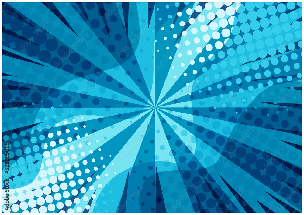 Fototapeta Abstract blue striped retro comic background with halftone corners and wavy shapes. Cartoon turquoise background with stripes and half tone pattern for comics book, advertising design, poster, print