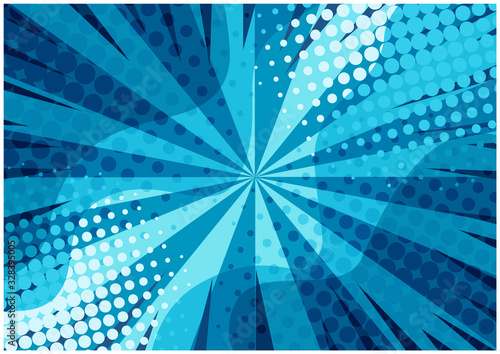 Obraz Abstract blue striped retro comic background with halftone corners and wavy shapes. Cartoon turquoise background with stripes and half tone pattern for comics book, advertising design, poster, print - fototapety do salonu