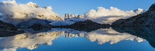 Reflexion Of Mountain On Water; Sunset From Lac Blanc Over Chamonix