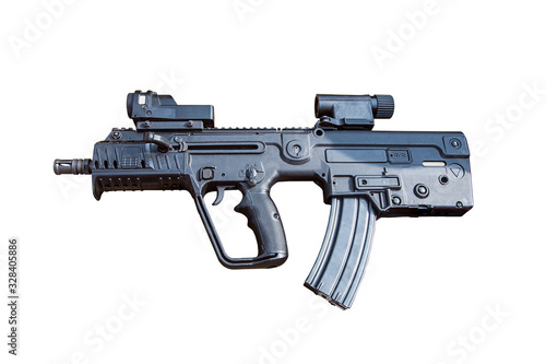 modern automatic assault rifle isolated on a white background Wallpaper Mural
