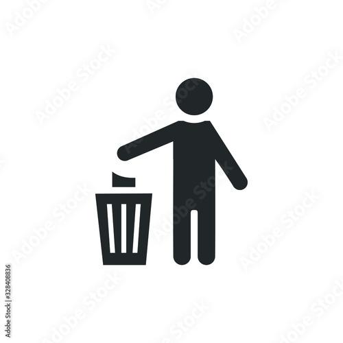 simple Icon people women throw garbage Wallpaper Mural