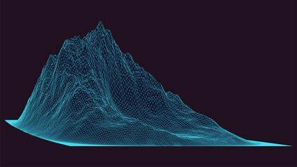 3d žičana planina. Pozadina futurističkog krajolika. Izolirana mreža trokuta. Tehnologija ili koncept budućnosti. Plavi geometrijski uzorak. Apstraktna mreža cyberspacea. Veliki podaci. Vektorska ilustracija