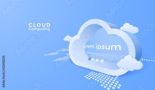 3d Clouds computing service. Digital technology background.